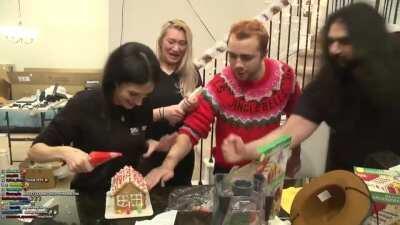 Gingerbread house earthquake test