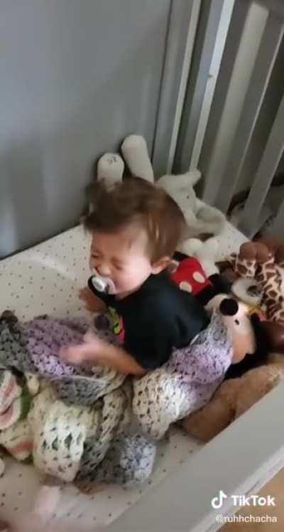 Babygirl cries after mom tells her she slept all day