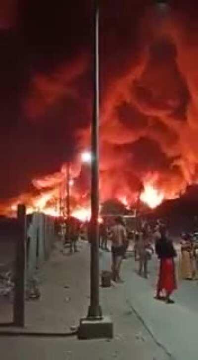 Major fire in Tughlakabad, Delhi, India. 25 May 2020.