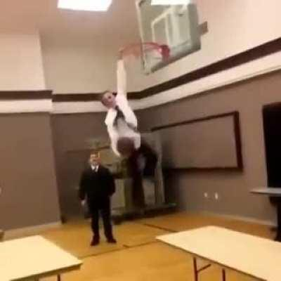 Trying a basketball trick