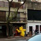 This Pikachu made of ballons on the street.