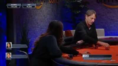 Tony Hawk casually soul reading professional poker player Maria Ho, killing her on the inside.