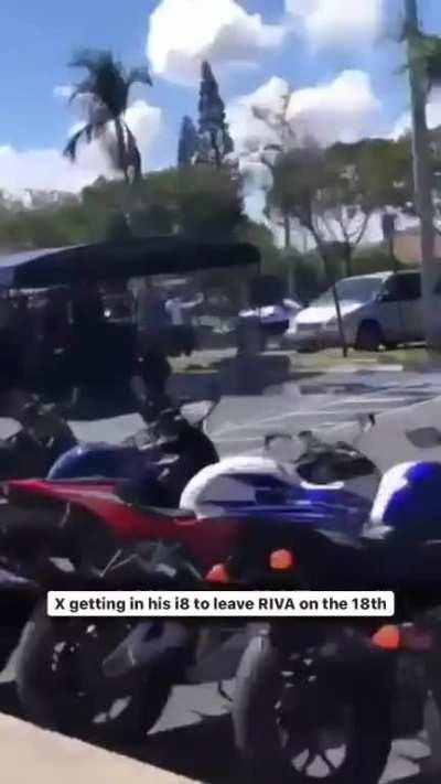 Last video of X leaving riva walking to his car on the 18th.