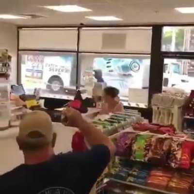 Store clerk gets angry and hands out karma to woman who threw object at him
