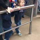 Letting your kids lick a railing that tons of people are going to touch