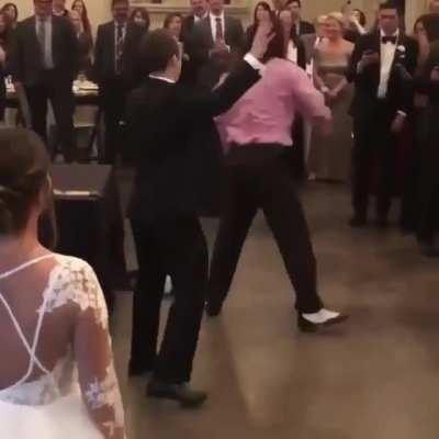 His wife's ex-boyfriend showed up to the wedding so he had to take care of him