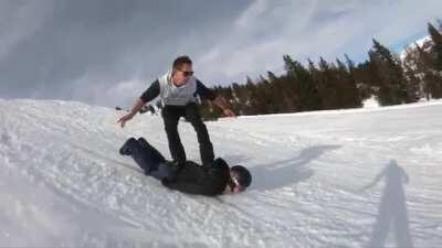 Bro's snowboard