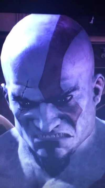 I can't stand with Kratos's face