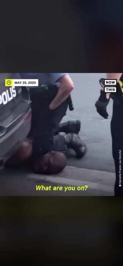 """A police man kills George Floyd an innocent black man by putting his knee on his neck. Even after repeating several times """"I can't breathe"""" the officer still keeps his knee on George's neck."""