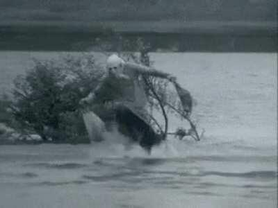 Euron Greyjoy when his ships sank from miles offshore.
