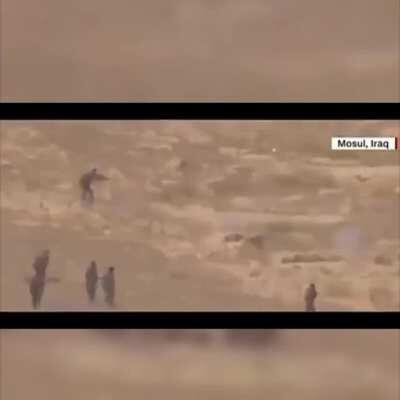 Some Intense fighting footage,Soldiers clear an Area after A Firefight,then an enemy troop is spotted just meters away from the Soldiers,Mosul,Iraq. [Not sure if it was posted here before].