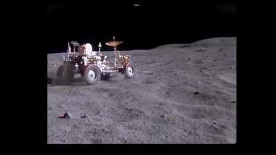 Upscaled footage of the Apollo 16 Rover cruising on the moon