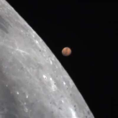 Mars passing behind the Moon