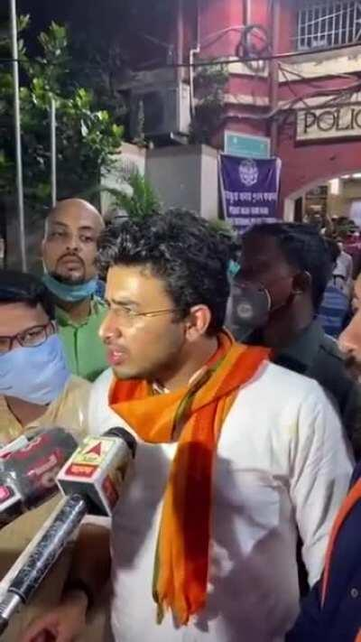 MP Tejasvi Surya : We waited for more than 2 hours, well into midnight, for police to register FIR upon our complaint. They instead manhandled 3 Members of Parliament. We will file a motion for breach of privilege & teach Mamata's police a lesson in c