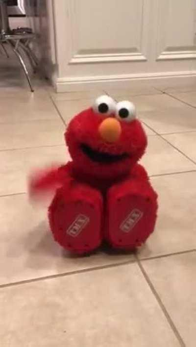 This Elmo toy always made me laugh specially when he falls on the floor and slides with his feet. Watch with audio on. Epic!