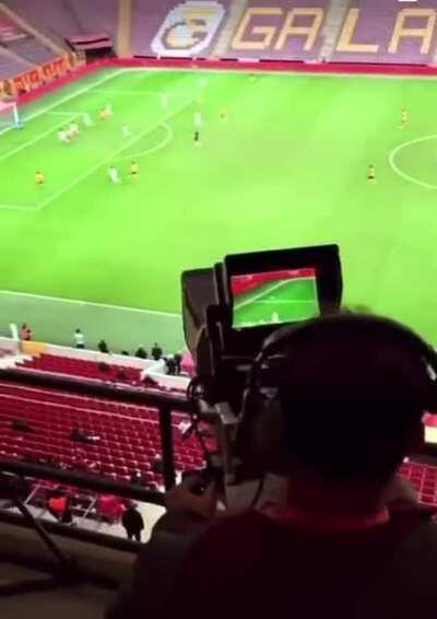 Incredibly skilled Camera operator recording a soccer match