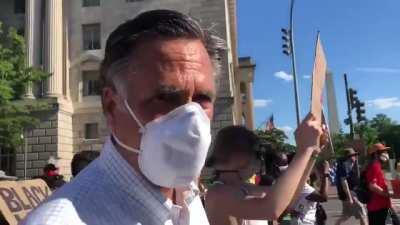 """Mitt Romney is marching with a group of nearly 1,000 Christians to the White House. Here he is on video saying why he's walking: """"... to make sure that people understand that Black Lives Matter."""""""