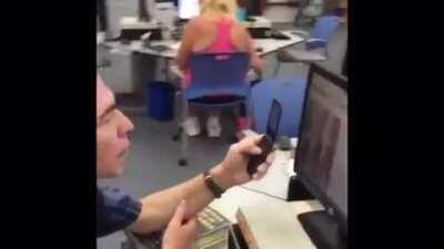 Dude gets caught looking at porn in the library taking pics on a flip phone for his spank bank