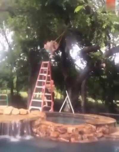After climbing up an 8 foot ladder, his hands slip he falls and slams his spine into a jacuzzi rockwall