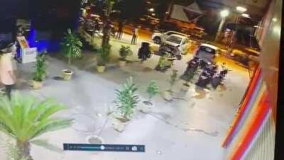 A CCTV footage from another camera! Two people just walk in and start shooting, and further fled just as easily as they came!