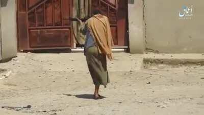 ISIS fighter with one leg hops into battle. Mosul, Iraq 2017