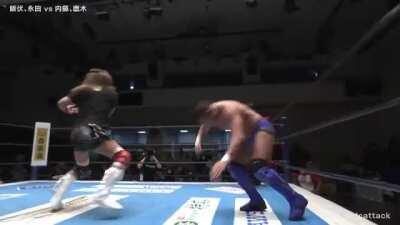 Nagata bumping Naito in the leg/knee