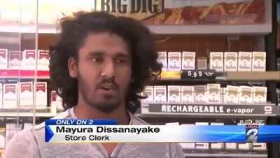 Of all the gas stations to rob you had to pick the one whose clerk is a 5 time Sri Lankan MMA champ.
