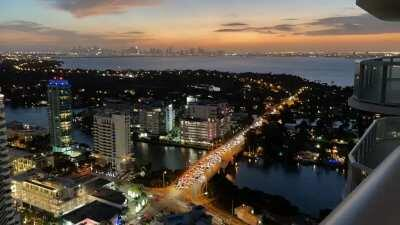 Timelapse sunset in Miami Beach, looking at downtown Miami skyline