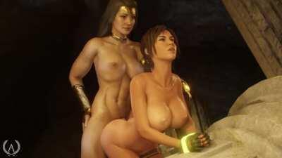 Futa Wonder Woman & Lara Croft, (Amazonium3D) [DC Comics / Tomb Raider]