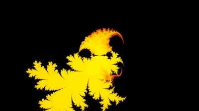Mandelbrot set for the sequence z(n+1) = cos(z(n)) + 1/c, with z(0) = 2.5*exp (iθ), θ between 0 and π