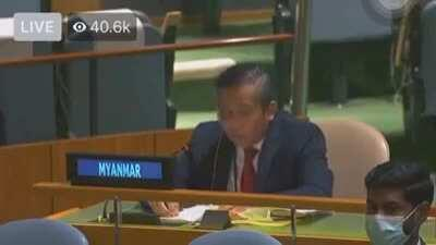 In a dramatic turn of event, Myanmar Ambassador to UN defected from Regime and denounced Coup. His voice was shaking at the beginning of speech.