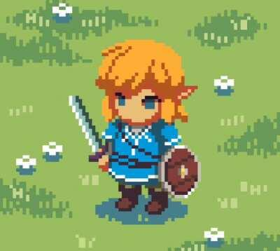 [BoTW] Made some pixel art of Link! It was my first time making a character sprite so it's a bit rough around the edges ^^;