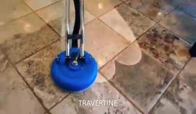 Power washing tiled floor