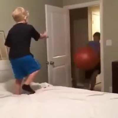 Launching your little brother with an exercise ball