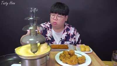 This man put cheese in a chocolate fountain machine