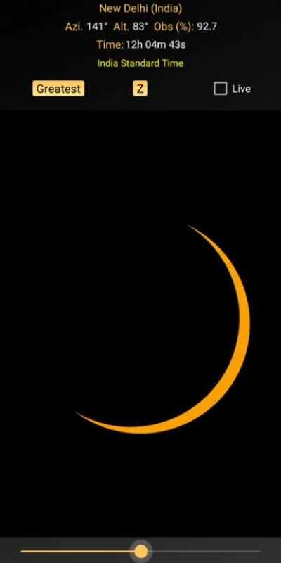 In 10 days there will be a partial solar eclipse over Delhi with almost 93% of the sun blocked by the Moon. Here I made a simulation with help of an app of how would it look from Delhi with Indian Standard Time.