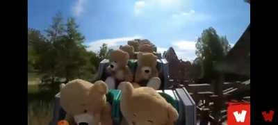 Stuffed bears riding a roller coaster in the Netherlands
