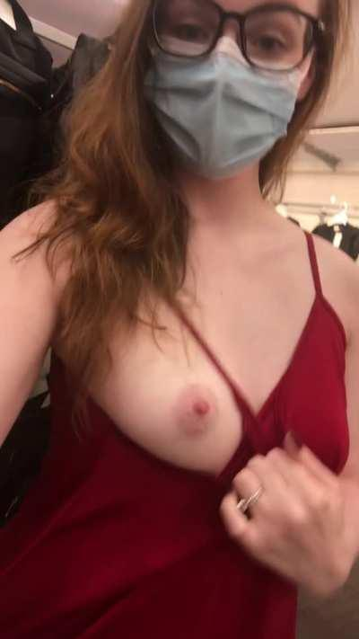 The dressing rooms are closed but I'm still trying to take my clothes off [gif]