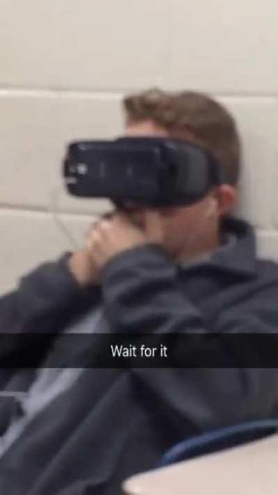 Playing a VR horror game in the middle of class