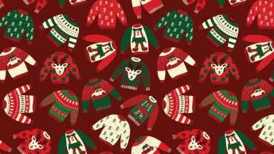 I created a couple of Holiday Zoom Backgrounds for a Ugly Zoom Background Competition at Work. Here's the first one with Ugly Sweaters