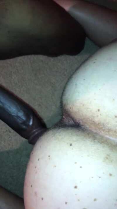Big black dick, white bubble butt