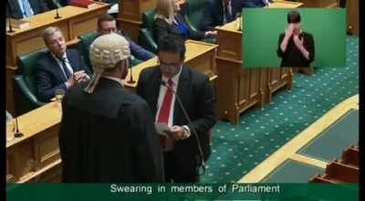 New Zealand Member of Parliament (MP) Dr Gaurav Sharma takes oath in Sanskrit.{Sharma hails from India's Himachal Pradesh}
