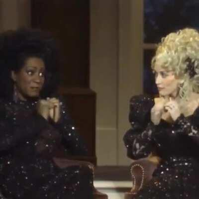 Patty Labelle and Dolly Parton harmonize while playing their acrylic nails together... (1987)
