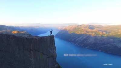 Preikestolen or 'preachers chair', a cliff located in Norway, which rises 604 metres (1,982 ft) above the Lysefjorden.