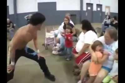 Making kids cry at a wrestling event