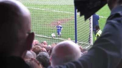 Crowd cheers after child makes a goal