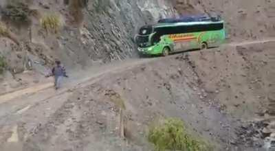Bus driver in Peru. Don't try this at home