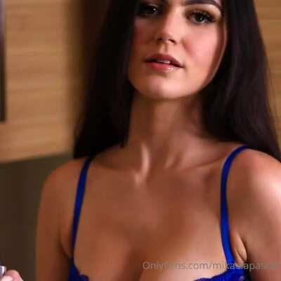 Mikaela Pascal Sexy Blue Bodysuit Video