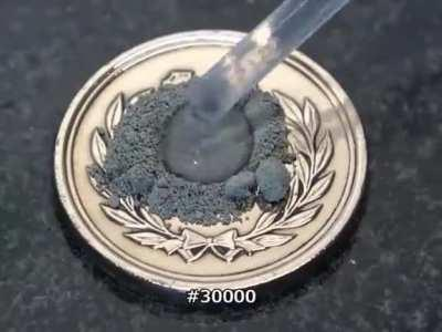 Polishing a 10 yen coin