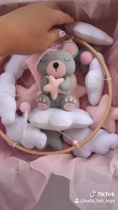 Baby crib mobile for girls - handmade felt gray bear in a pink hat. Preparing for long journey from Europe to USA :)